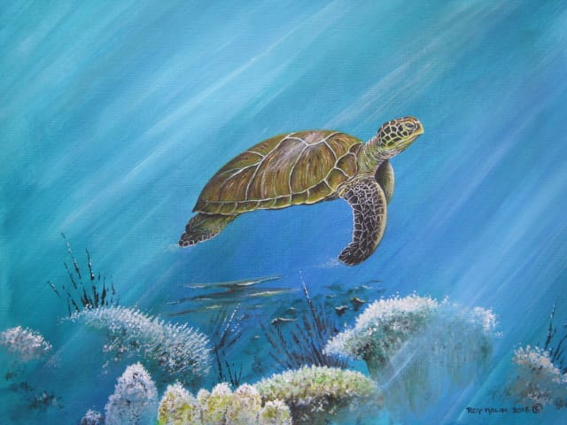 Green Turtle painting by Roy Aplin