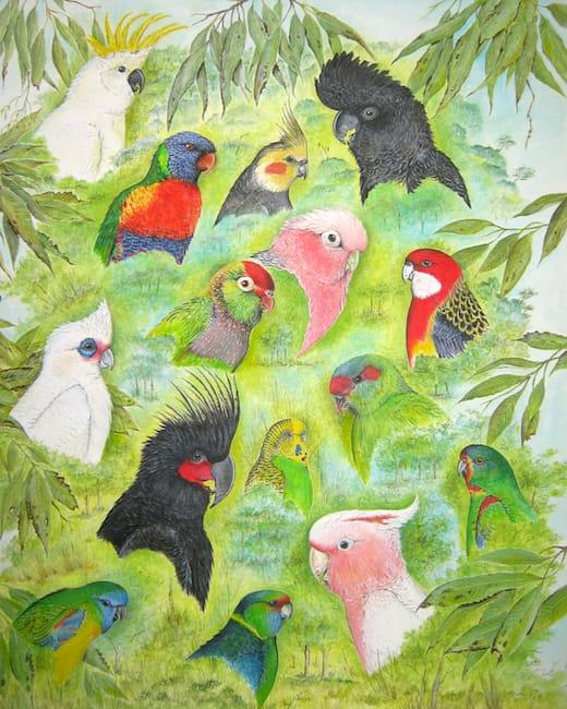 Australian parrots painting by Roy Aplin